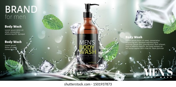 Men's body wash ads with splashing water and ice cubes effect in 3d illustration