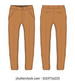 Men's brown trousers. Front and back views on white background