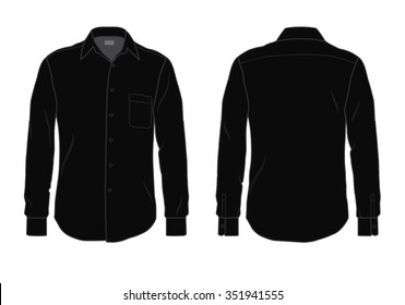 Men's button down dress shirt template, front and back view