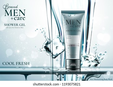 Men's care product with ice cubes in 3d illustration, pure water pouring down from top