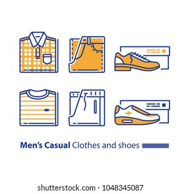 Men's casual and sports clothing and shoes, folded checked shirt and jeans, striped t-shirt and track bottoms, low shoe with heel and sneakers, new collection, vector line icon set, linear design