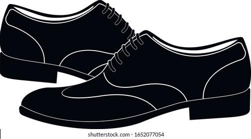 Men's classic leather shoe. Shoes logo. Transparent background. Vector illustration.