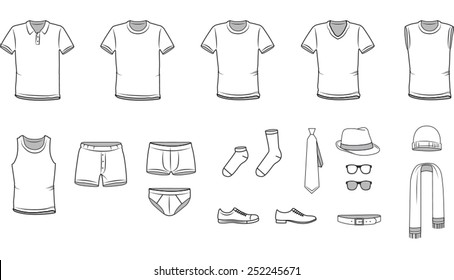 Men's clothes, Garment illustration, Underwear, Accessories, vector