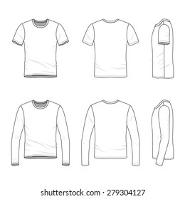 Men's clothing set. Front, back and side views of blank t-shirt and tee. Casual style. Vector illustration for your fashion design.