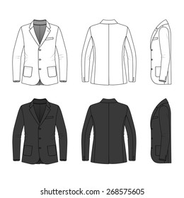 Men's clothing set in white and black colors. Blank template of classic blazer in front, back and side views. Casual style. Vector illustration for your fashion design. Isolated on white.