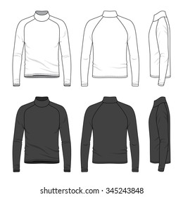 Men's clothing set in white and black colors. Front, back and side views of blank tee with raglan sleeve. Casual style. Vector illustration for your fashion design.