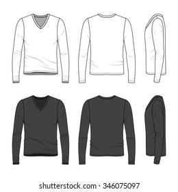 Men's clothing set in white and black colors. Front, back and side views of blank v-neck tee. Casual style. Vector templates for your fashion design. Isolated on white.