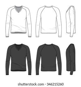 Men's clothing set in white and black colors. Front, back and side views of blank v-neck tee with raglan sleeve. Casual style. Vector templates for your fashion design. Isolated on white.