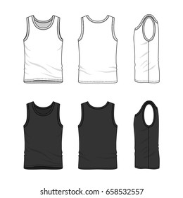 Men's clothing set in white and black colors. Front, back and side views of blank undershirt. Vector templates in casual style. Fashion illustration.
