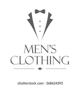 Men's clothing store badge. Isolated logo of clothing store on transparent background. Use for clothing shop advertising, window signage, web sites. Clothing store emblem. Monochrome vector illustration.
