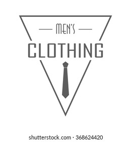 Men's clothing store badge. Isolated logo of clothing store on transparent background. Use for clothing shop advertising, window signage, web sites. Clothing store emblem. Monochrome vector illustration.