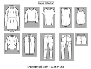 Men's collection clothing. Vector.