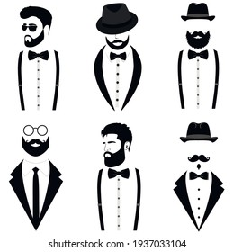 Men's collection. Gentleman's set. Suit icon isolated on white background. Vector illustration