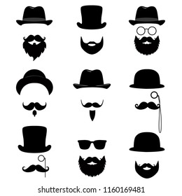 Men's collection. Mustache, glasses, beard, pipe and top hat. Vector illustration