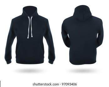 Men's dark blue training hoodie template.