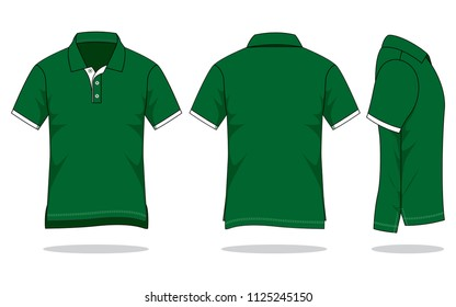 Men's dark green polo shirt vector (Shirts long in back short in front)