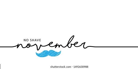 Men's Day. No shave or shaving moustache, mustache or beard men face. Hipster male barber. Awareness blue ribbon, medical symbol for psa prostate cancer month in november.