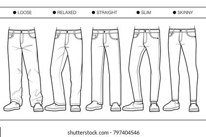 Men's denim fits (loose, relaxed, straight, slim, skinny)