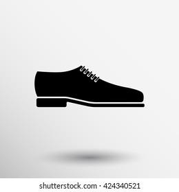 Mens dress shoe icon. Silhouette. Vector illustration logo.
