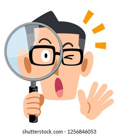 Men's eyeglasses seriously looking into a magnifying glass