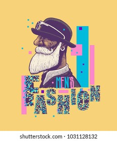 Men`s Fashion. Design Poster or T-Shirt Print With Man With A Mustache And Beard In A Bowler Hat And Hand Drawing Font. vector illustration
