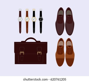 Mens fashion  set - briefcase, watches and shoes