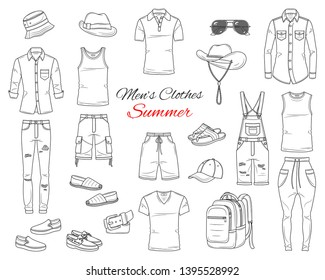 Men's Fashion set, clothes and accessories, summer outfit:  t shirts, jeans pants, shirts, shorts, sportswear, sunglasses and backpack, vector sketch illustration, isolated on white background.