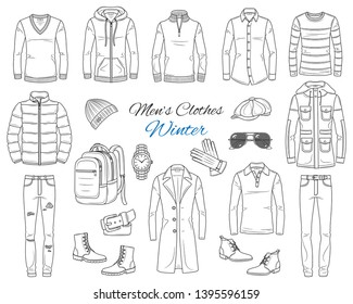 Men's Fashion set, clothes and accessories, winter outfit: coats, jackets, pants, shirts, suits, sweaters, shoes, hats and backpack, vector sketch illustration, isolated on white.