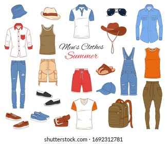 Men's Fashion set, clothes and accessories, summer outfit:  t shirts, jeans pants, shirts, shorts, sportswear, sunglasses and backpack, vector illustration, isolated on white background.