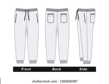 Mens fashion trousers pants, front, back and side. White colors, vector image