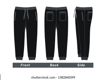 Mens fashion trousers pants, front, back and side. Black colors, vector image