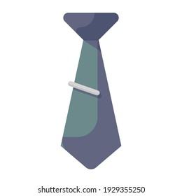 Mens fashion wear neckcloth, flat icon of tie
