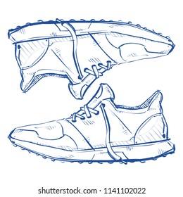 Mens footwear in sketch-style. Vector.