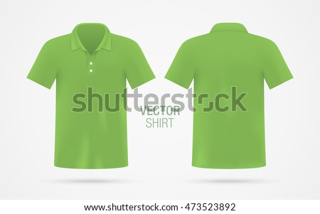 46f70291 Men's green vector polo shirt template. Men's classic shirt realistic mockup .