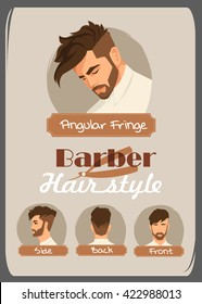 Men's haircut and hairstyle. Angular Fringe haircut. Front side. Back side. Beard hairstyle.