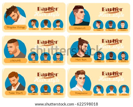 Mens Haircut Hairstyle Side Part Haircut Stock Vector Royalty Free