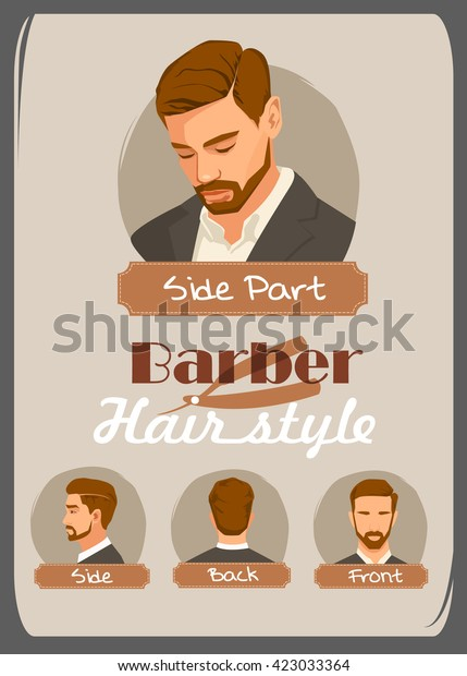 Mens Haircut Hairstyle Side Part Haircut Stockvector Rechtenvrij