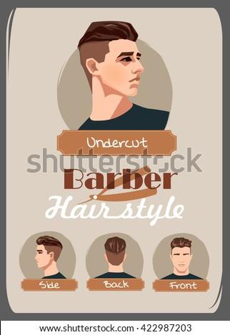 Mens Haircut Hairstyle Undercut Haircut Front Stock Vector Royalty