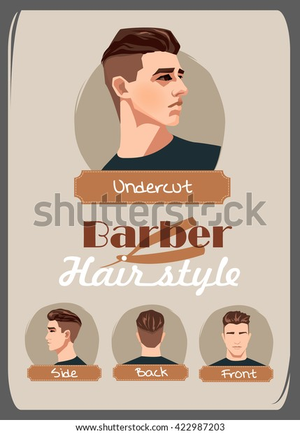 Mens Haircut Hairstyle Undercut Haircut Front Stock Vector