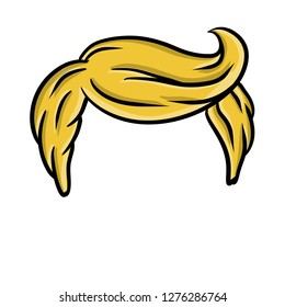 Men's hairstyle. Blonde hair hand-drawn. Stylish haircut like trump. The element of the top of the human head.