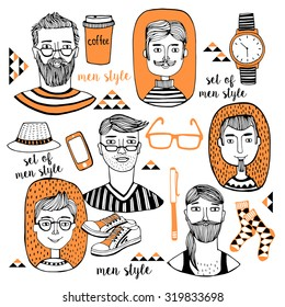 Men's hairstyle, Fashion men vector illustration, backdrop with  fashionable men's accessories. Vector template for design.