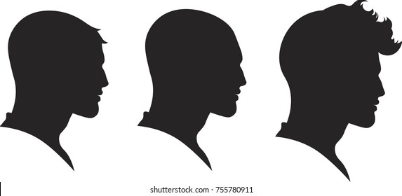 Men's hairstyle sithlouette vector