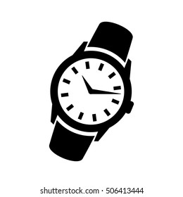 Men's hand classic wrist watch icon. Isolated wristwatch black illustration.