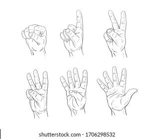 Men's hand counting in gesture with fingers one, two, three, four, five, hand drawn with black line in comic cartoon style vector