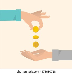 Men's hand gives some money to needy. Financial crisis, charity, unemployment concept. Vector illustration flat design.