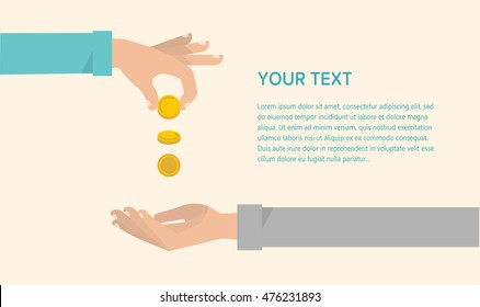 Men's hand gives some money to needy. Financial crisis, charity, unemployment concept. Vector illustration flat design horizontal banner template