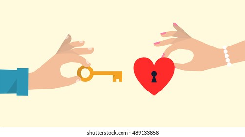 Men's hand is holding a golden key from a woman's heart. Metaphor love concept. Flat design vector illustration.