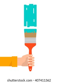 Men's hand holds a paint brush with a green color. Interior design, repair concept. Isolated vector illustration flat design. Vertical banner