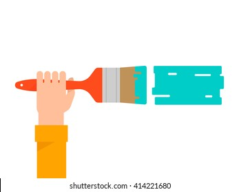 Men's hand holds a paint brush with a green color. Interior design, repair concept. Isolated vector illustration flat design. Horizontal banner