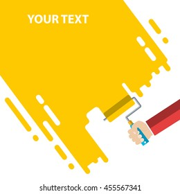 Men's hand holds a paint roller with a yellow color. Interior design, repair concept. vector illustration flat design. Blank template for your text